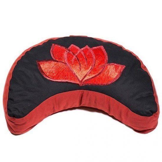 Meditatiekussen zwart/rood halve maan lotus geborduurd