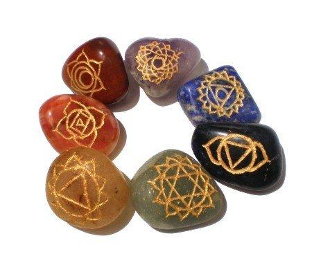 SET 7 chakra trommelstenen + chakra symbolen